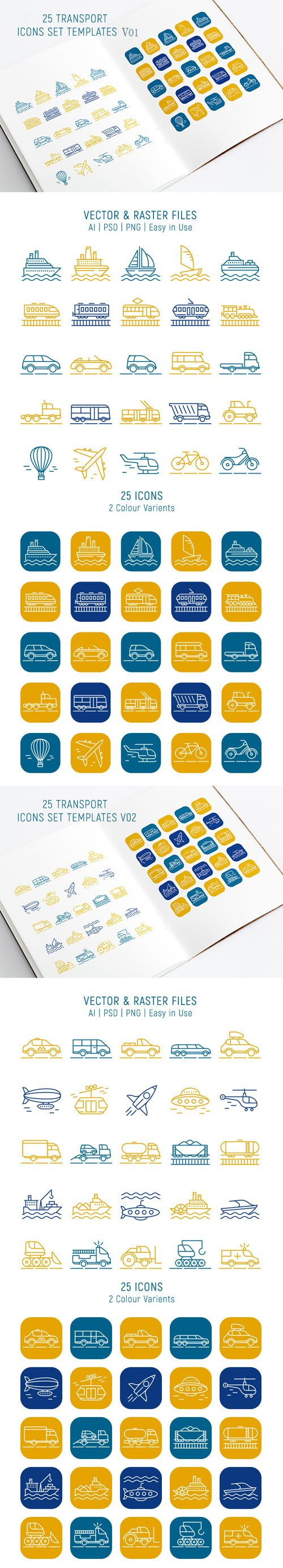 100 Transport Icons Templates