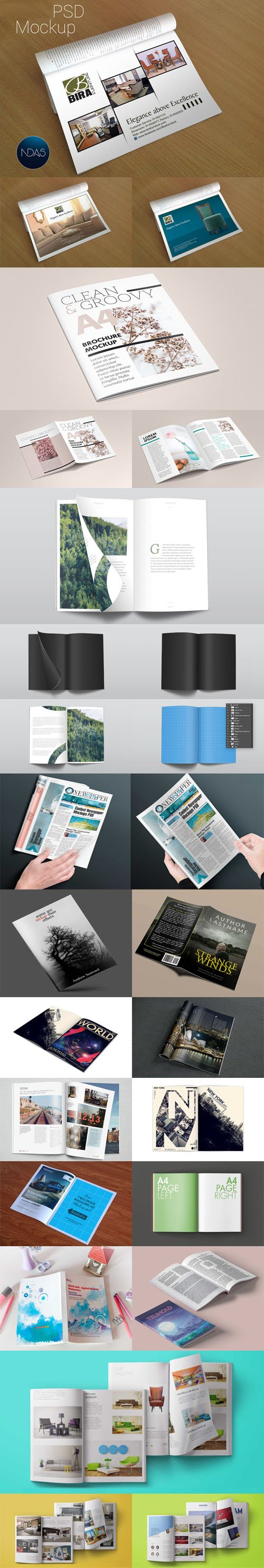 Top 16 Magazines PSD Mockups Collection