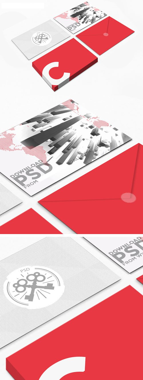 Postcard with Envelop PSD Mockup