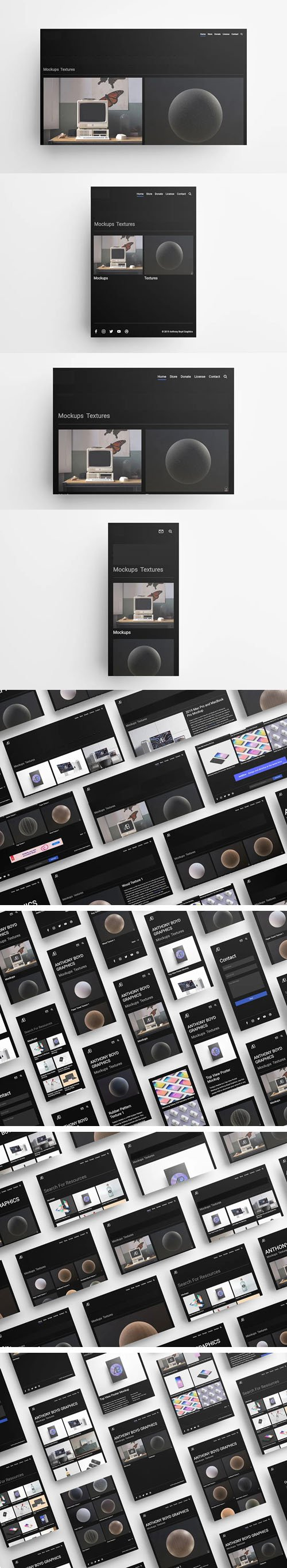UI PSD Mockups Pack to Showcase Your Website Designs - Made with Cinema 4D !