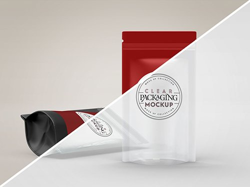 Clear or Foil Stand-Up Pouches Mockup 245419798 PSDT