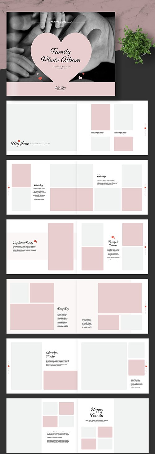 Wedding Photo Album Layout with Pink Accents 247454844 INDT