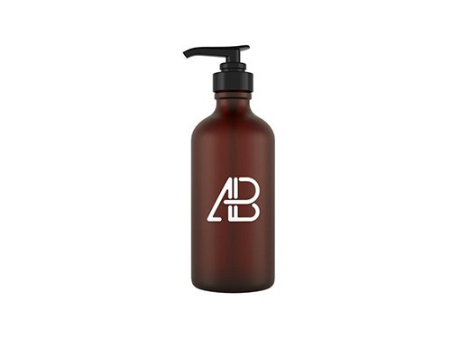 Glass Cosmetic Pump Bottle PSD Mockup