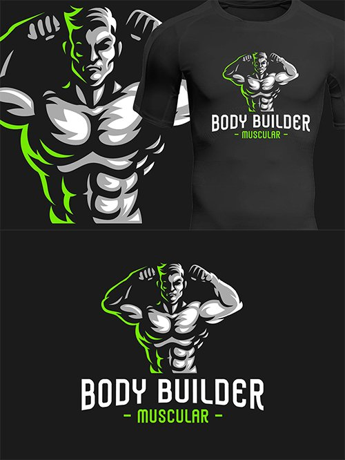 Body Builder Sport Logo Vector Template