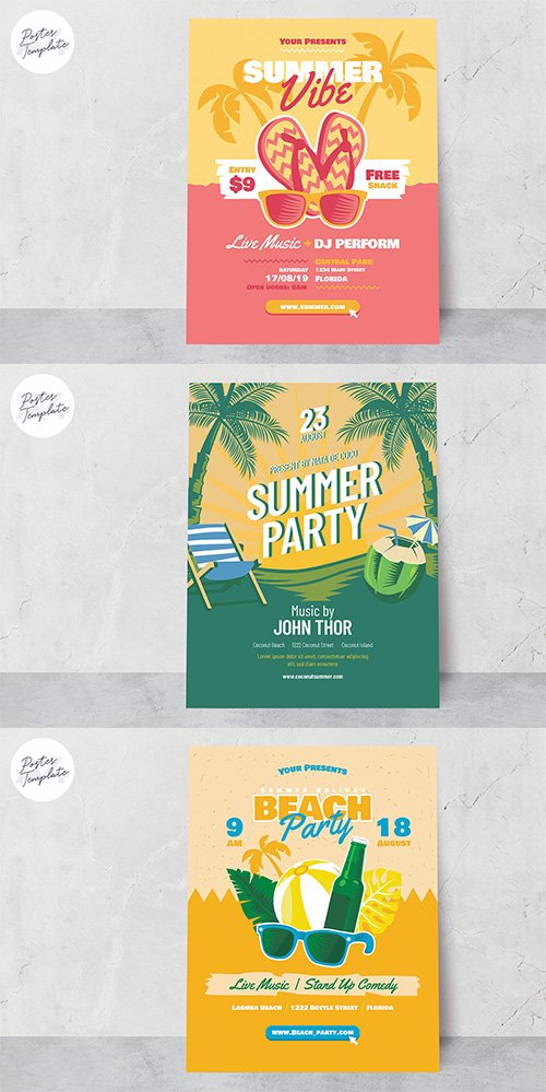 Summer Poster Vector Template Set