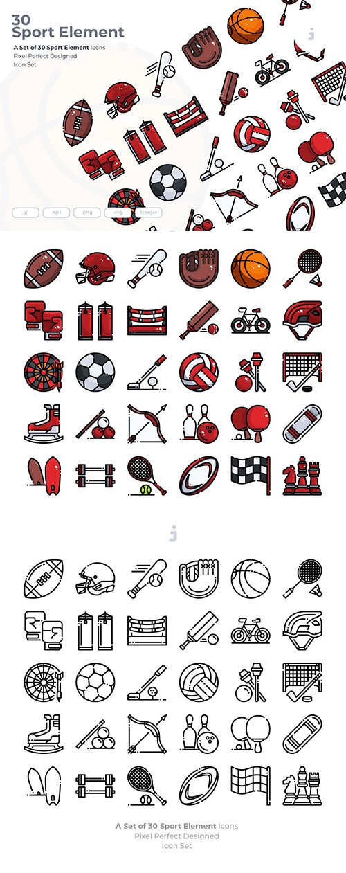 30 Sport Element Vector Icons