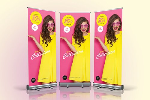 Fashion Sale Roll Up Vector Banner 05