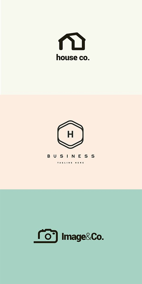 House Real Estate, Photography and Agency Logo PSD and Vector Set