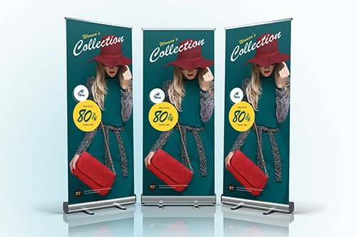 Fashion Sale Roll Up Vector Banner 04