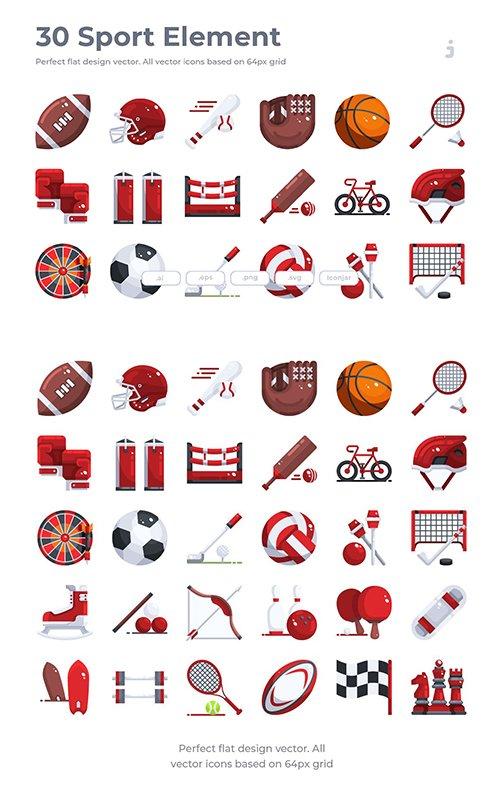 30 Sport Element Vector Icons - Flat