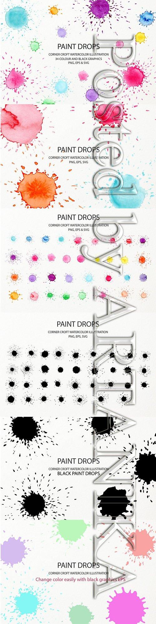 Watercolor Paint Drop Collection