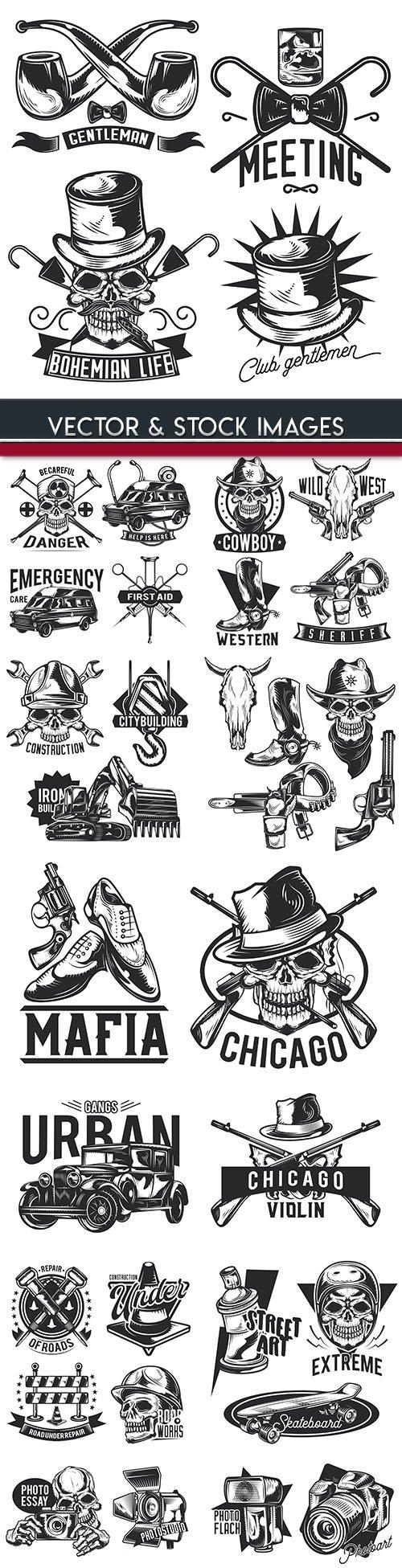 Skull and accessories grunge labet drawn design