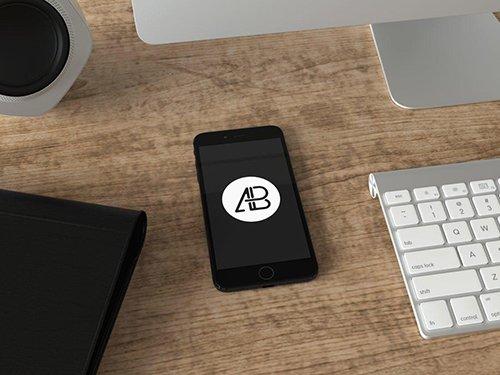 Realistic Jet Black iPhone 7 Plus Mockup Vol.4