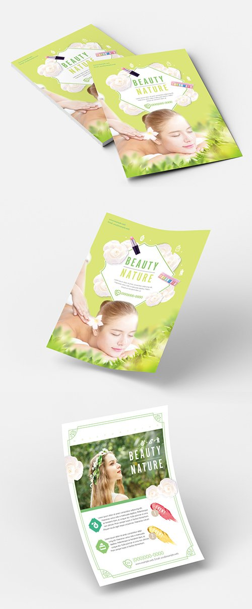 INDT Beauty Flyer Layout with Green Accents 223020170