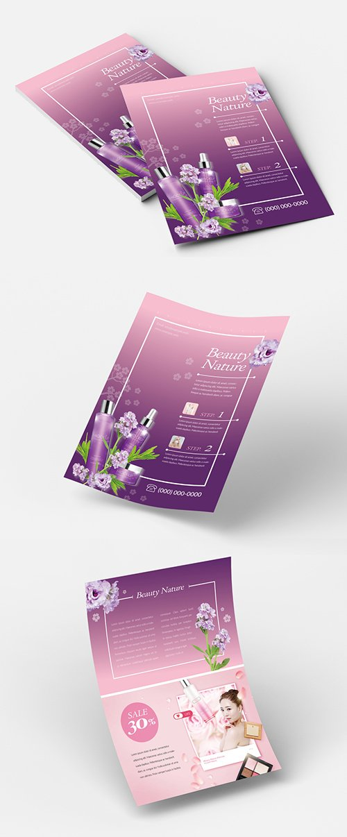 INDT Beauty Flyer Layout with Purple Accents 223020175