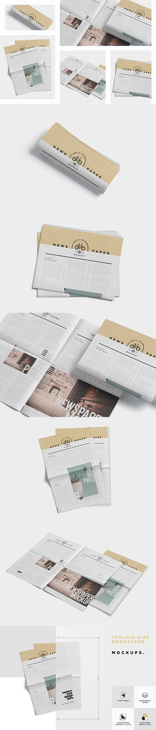 Tabloid Size Newspaper Mockups PSD
