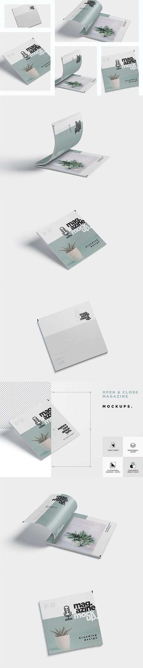 Open and Close Magazine Mockups PSD