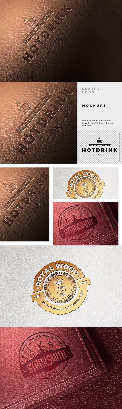 Leather Logo Mockups PSD