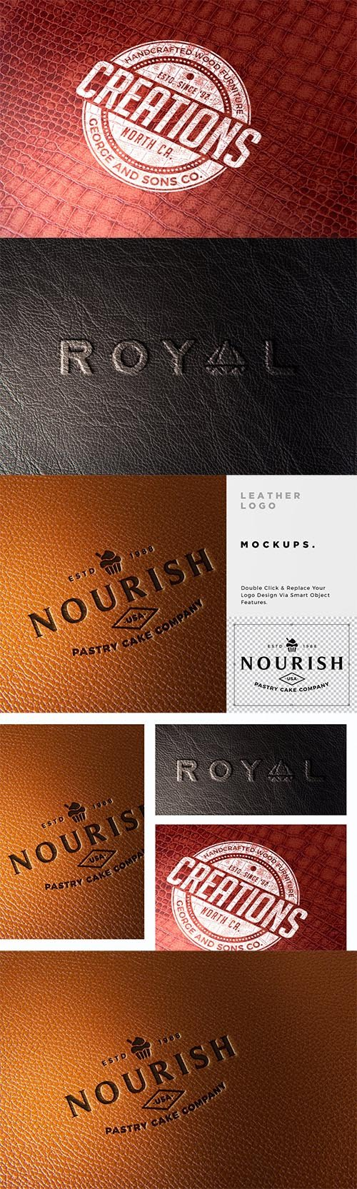 Leather Branding logo mockups PSD