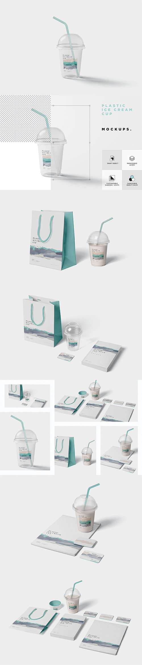 Transparent Plastic Ice Cream Cup Mockups PSD