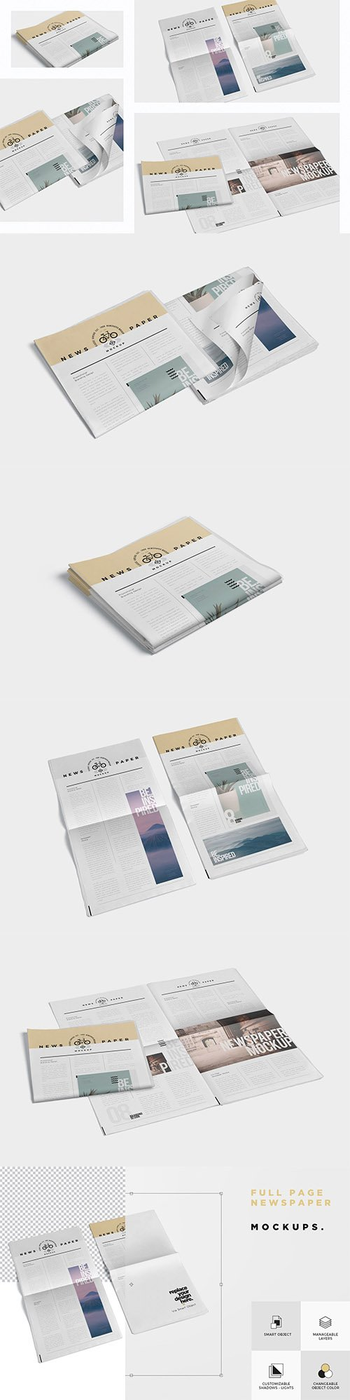 Full Page Newspaper Mockups PSD