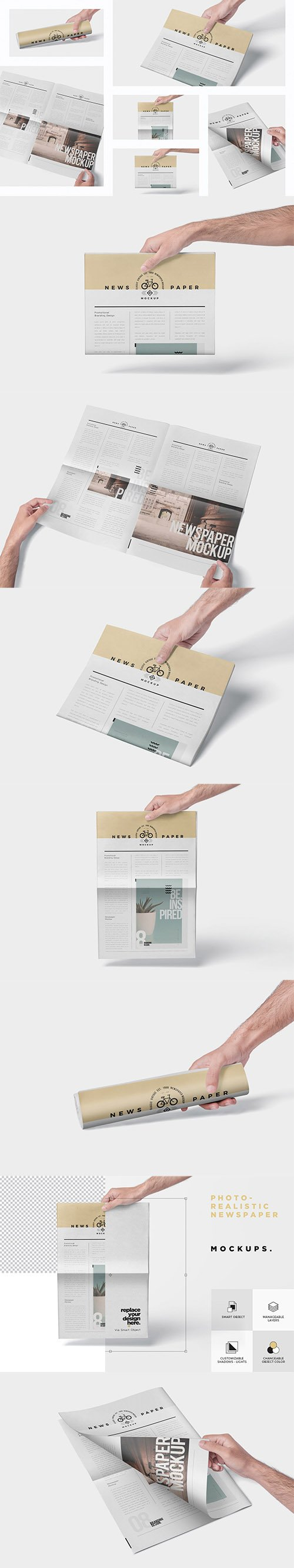 Photorealistic Newspaper Mockups PSD
