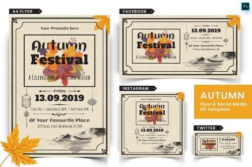 Autumn Festival Flyer & Social Media Pack-01 PSD