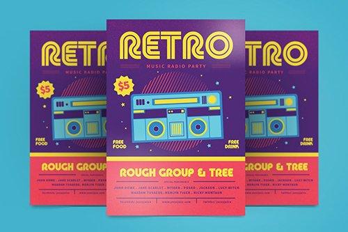 Retro Music Flyer PSD