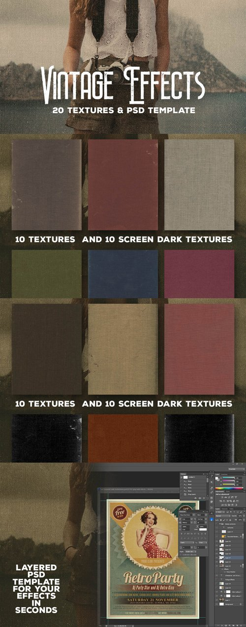 Vintage Effects - 20 Textures & PSD Templates