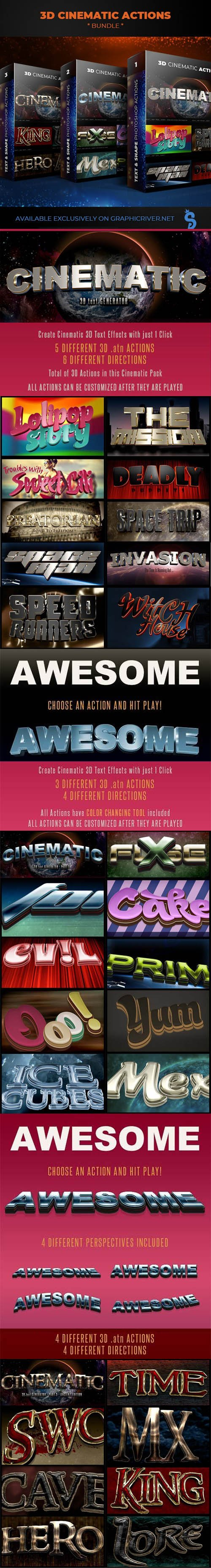 GraphicRiver - 3D Cinematic Actions Bundle - 3 Packages