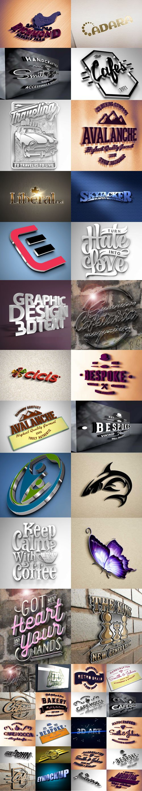24 Awesome 3D Logo & Text Effect PSD Mockups