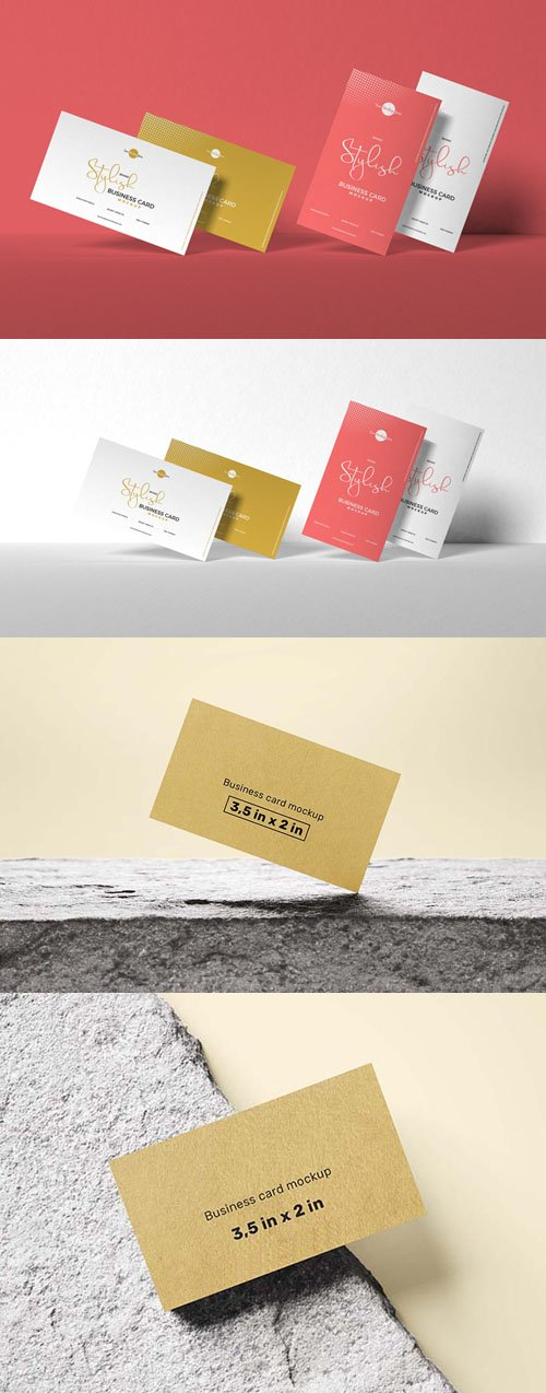 2 Stylish Business Cards PSD Mockups