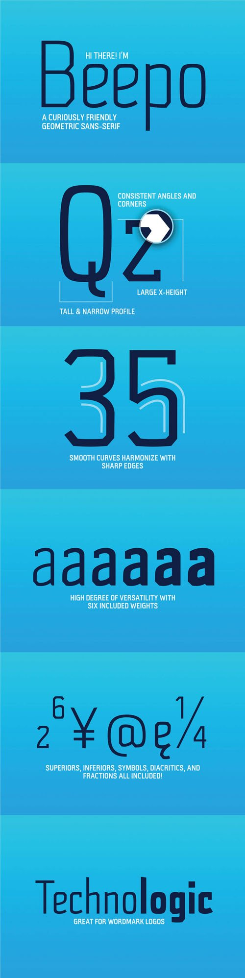 Beepo - A Curiously Friendly - Geometric Sans Serif Font (6-Weights)