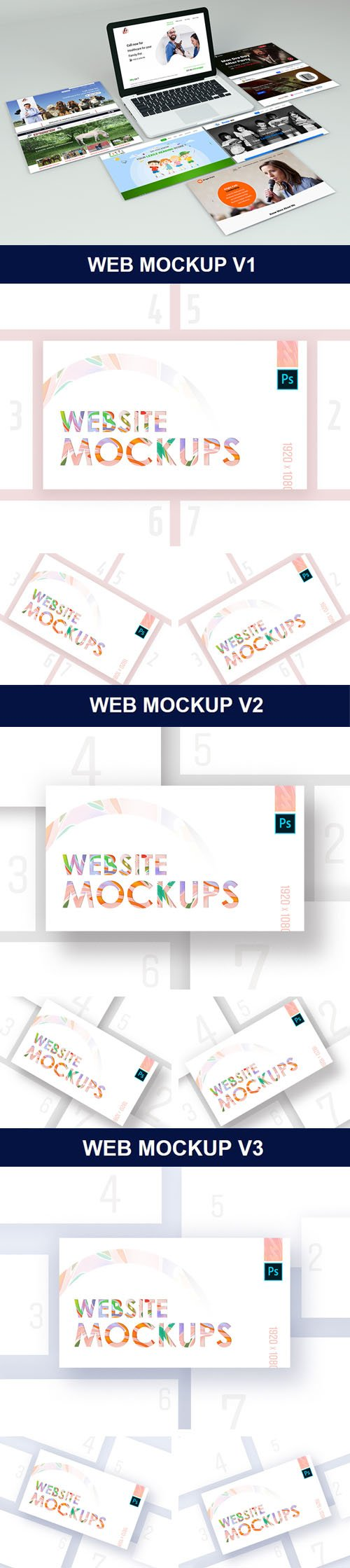 Website Showcase PSD Mockups Bundle