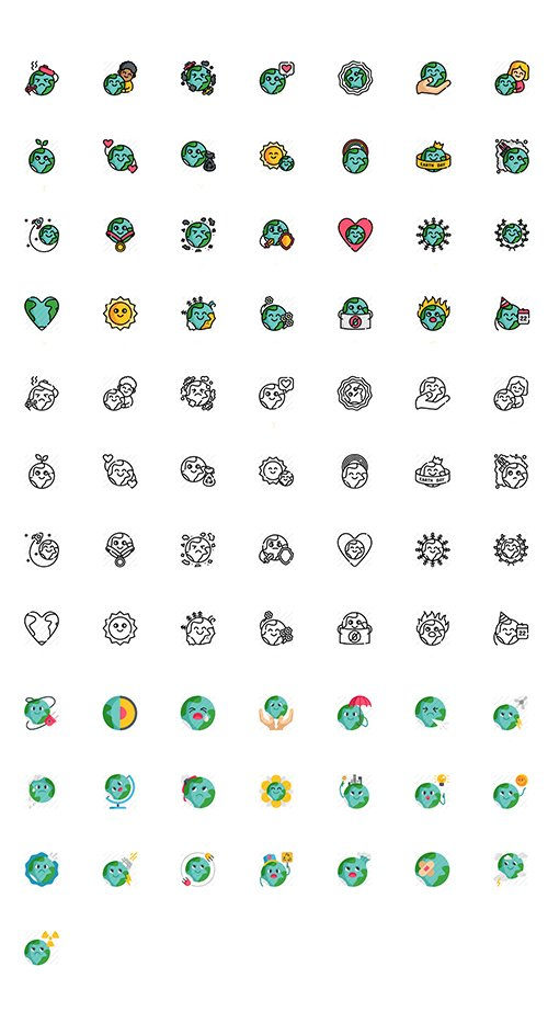 Mother Earth Day Icon Set