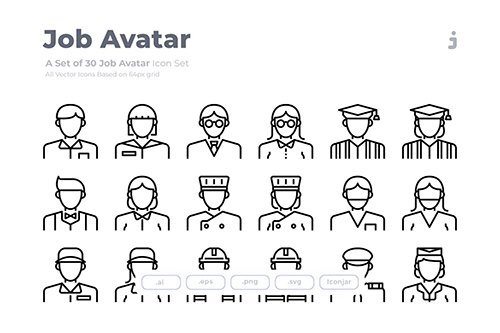 30 Job Avatar Icons - Outliner