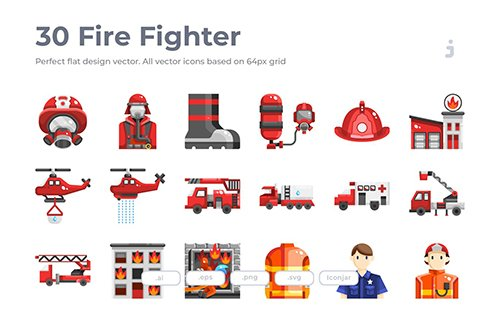 30 Fire Fighter Icons - Flat