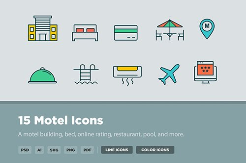 15 Motel Vector Icons