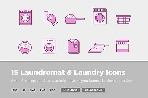 15 Laundry & Laundromat Vector Icons