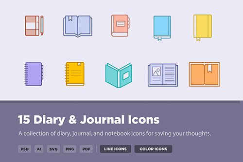 15 Diary & Journal Vector Icons