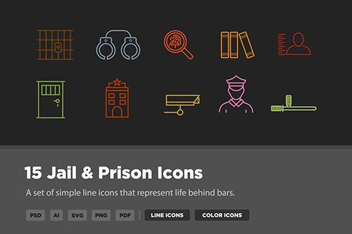 15 Jail & Prison Vector Icons