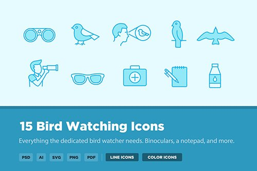 15 Bird Watching Vector Icons