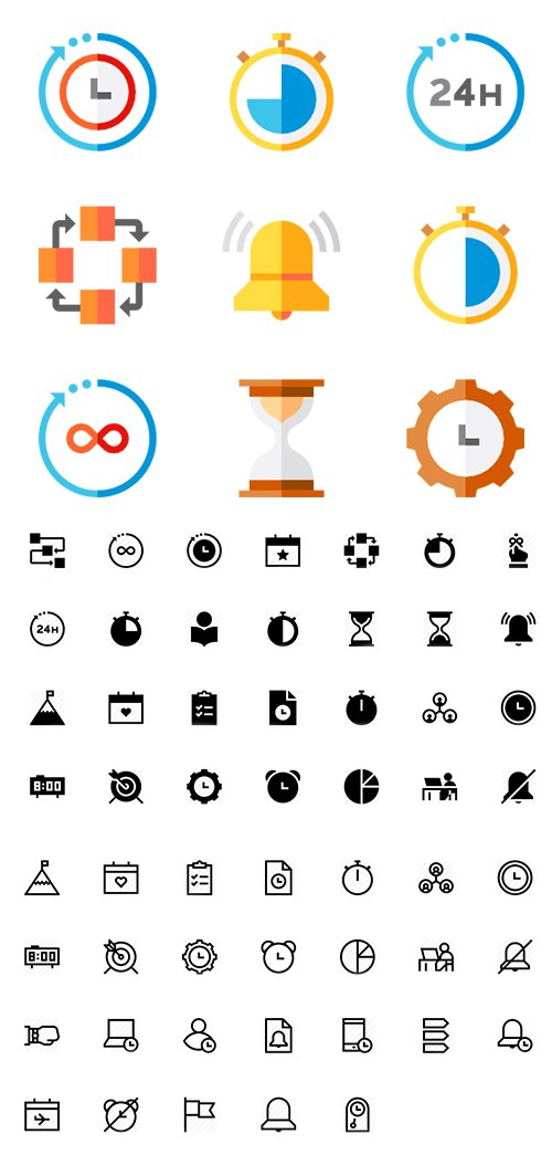 120 Time Management Vector Icons