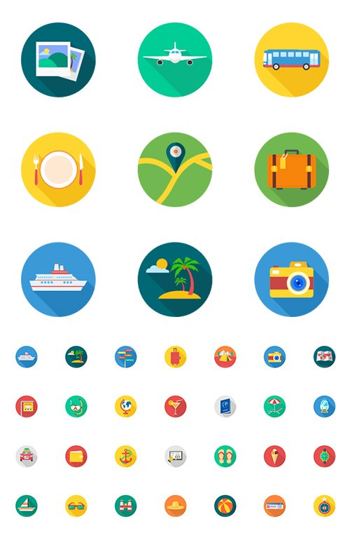 40 Travel Tourism & Holiday Vector Icons Flat