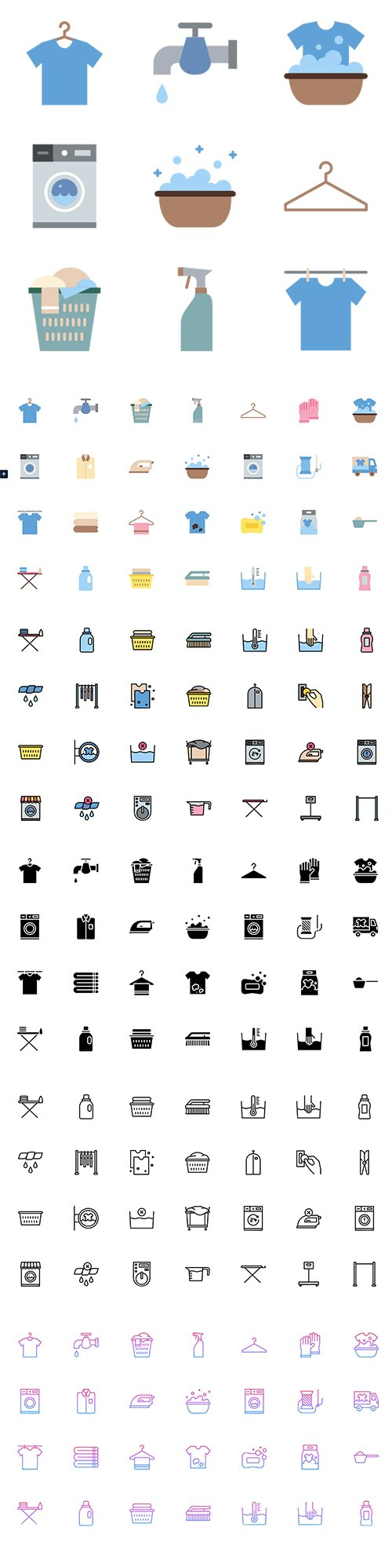 250 Laundry Vector Icon Pack (Lineal Color, Flat, Outline, Gradient, Glyph)