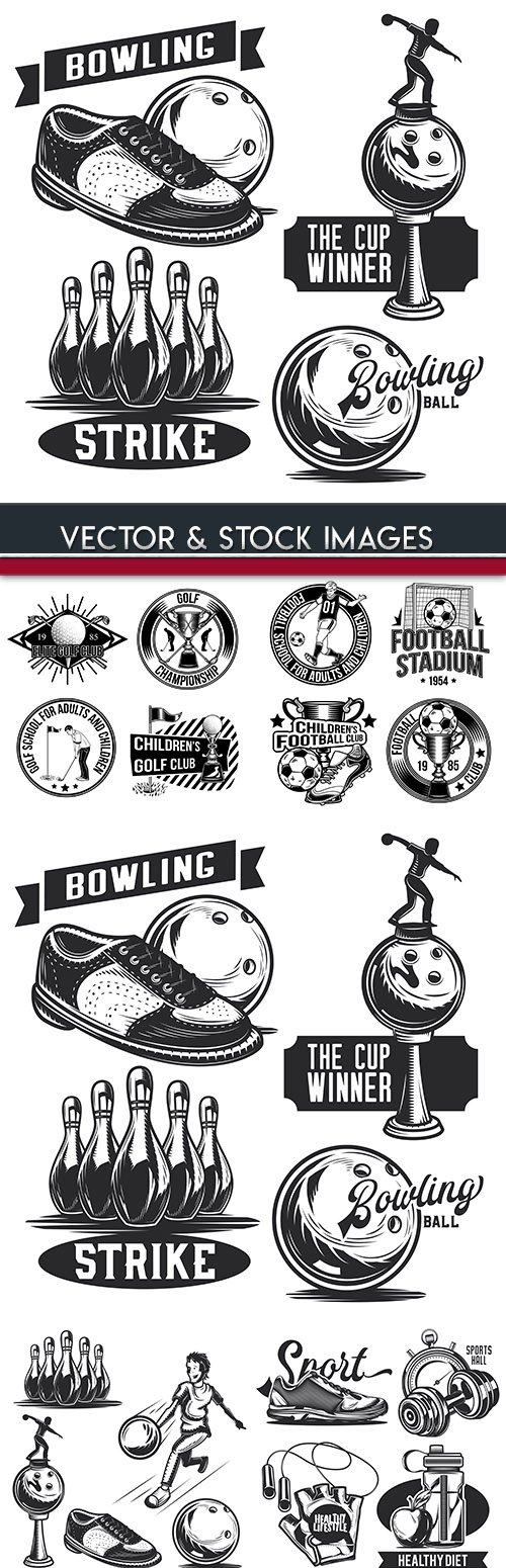 Bowling and sports equipment drawn banner design