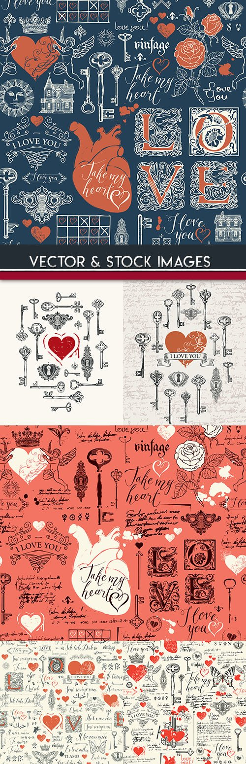 Love heart and lock with key pattern romantic