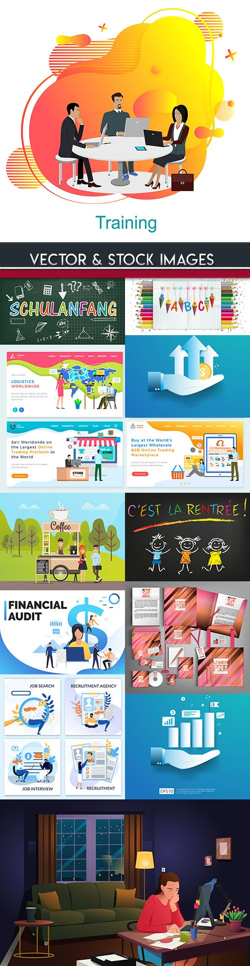 Modern big collection illustrations and elements design 48