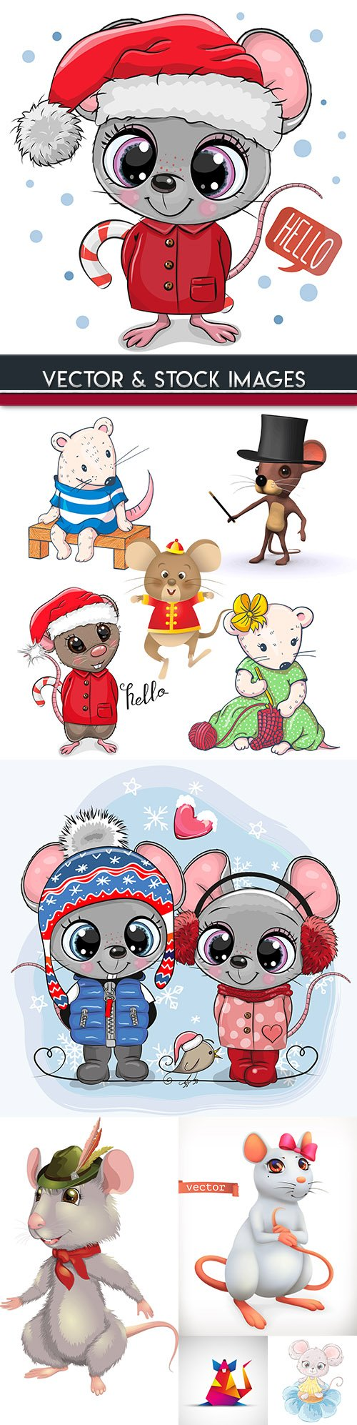 Rat cartoon symbol of New Year 2020 illustration 2