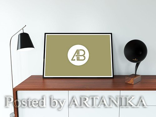 Realistic Wide Poster Mockup